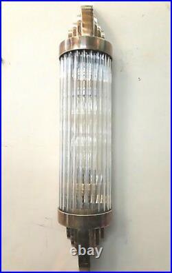 Old Vintage Art Deco Skyscraper Brass & Glass Rod Ship Light Wall Sconces Lamp