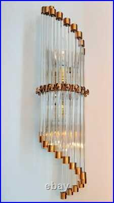 Old Vintage Art Deco Skyscraper Copper & Glass Rod Ship Light Wall Sconces Lamp