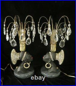 PR Vintage Jeweled Art Deco NUBIAN African Queen blackamoor Lamps Spelter Brass