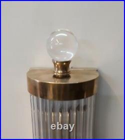 Pair Large Antique Vintage Art Deco Brass & Glass Ship 4 Light Wall Sconces Lamp