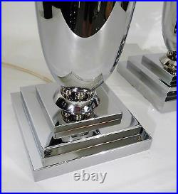 Pair Of Art Deco French Chrome Vintage Urn Form Up Lights Banquet Accent Lamps