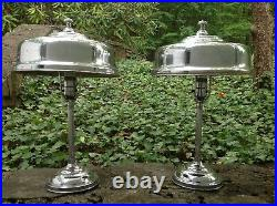 Pair VINTAGE 1930s Machine Age ART DECO Skyscraper CHROME Helmet TABLE LAMPS