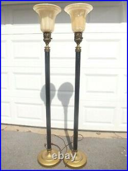 Pair of Antique/Vintage Art Deco Torchiere Floor Lamps 67 Tall Spectacular