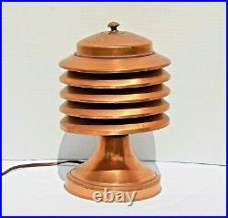 Rare Vintage Art Deco Lamp Coulter Louvered Copper Canada Machine Age Modernism