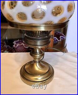 Rare Vintage Fenton Art Glass Honeysuckle Opalescent Coin Dot Lamp N8