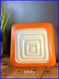Retro White & Orange Glass Pop Art Square Ceiling Light Wall Lamp Shade 60's 70s