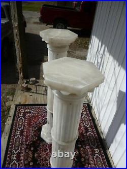 Set Pair Vintage Marble Lighted Fine Art Lamp Display Columns Huge Heavy