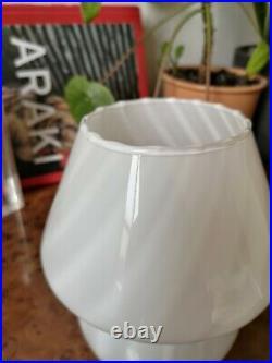 Small Vintage SWIRL MUSHROOM Table Lamp VETRI MURANO Art Glass Italy 70s Fungo