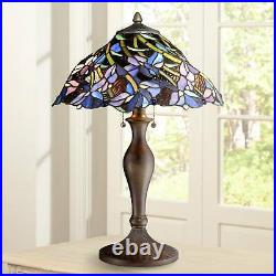 Tiffany Style Table Lamp Vintage Bronze Stained Art Glass for Living Room Family