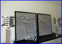 Time Travel Saturn Shade & Lucite Vintage Art Deco Machine Age Lamp