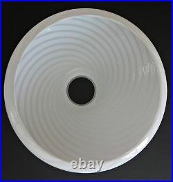 VETRI VENINI Floor Lamp Shade Art Murano Glass Chandelier Swirl White Italy Vtg