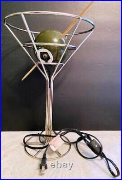 VTG 1993 DAVID KRYS ART DECO METAL MARTINI GLASS LAMP withSKEWED PIMENTO OLIVE-EUC