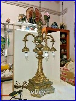VTG 6-Light Massive Sea Monsters Baroque Arts & Craft Working Lamp 1900-1940