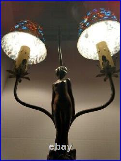 VTG Art Deco Nouveau Classical Nude Female Figure 2-Light Table Desk Lamp 1900's