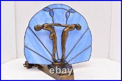VTG Art Deco Nouveau Dancers Fan Lamp Nude STAINED GLASS shade Figural Light