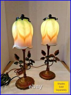 VTG Pair (2) Art Nouveau Arts & Craft Leaves & Branches Table Lamps 1900-1940