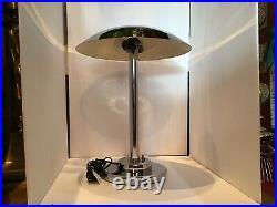 Vintage 70s Mid Century Chromo Art Deco Mushroom Metal Desk Lamp