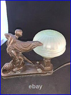Vintage ART DECO ART NOUVEAU NUDE FIGURAL LADY TABLE DESK LAMP