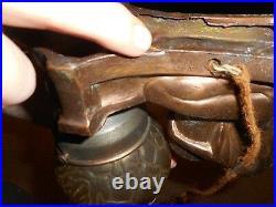 Vintage ART DECO ART NOUVEAU NUDE FIGURAL LADY TABLE DESK LAMP w GLOBE SHADE