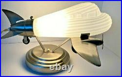Vintage Airplane Lamp Chrome & Frosted Glass Globe DC3 Lowe's Art Deco Table