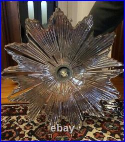 Vintage Antique ART DEco STarburst CEILING LIGHT lamp fixture glass shade