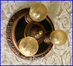 Vintage Antique Cast Ceiling 3 Light Lamp Fixture Chandelier Art Deco 1920's