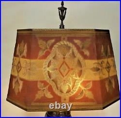 Vintage Art Deco Art Nouveau Painted Brass Mesh Metal Lamp Shade Rembrandt