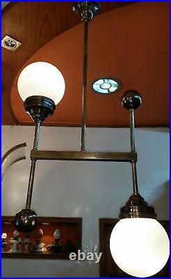 Vintage Art Deco Bauhaus Fixture Ceiling Brass Hanging Light Milk Glass Shade