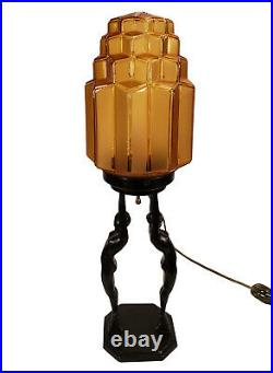 Vintage Art Deco Black Frankart 1927 Two Nude Ladies Lady Lamp Amber Glass Shade