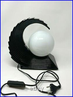 Vintage Art Deco Black Glazed Ceramic Wave Table Lamp, 1970s