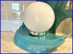 Vintage Art Deco Glazed Ceramic Wave Flame Table Lamp Retro 70s 80s Turquoise