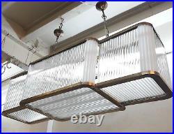 Vintage Art Deco Hanging Ship Glass Rod Ceiling Fixture 7 Light Chandelier Lamp