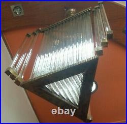 Vintage Art Deco Hanging Ship Glass Rod Ceiling Fixture Light Chandelier Lamp