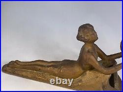 Vintage Art Deco Lamp Lady Nymph Laying Down Lamp Body Bronze
