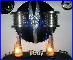 Vintage Art Deco Machine Age 1930 Satin Glass Nude Lamp (pair)