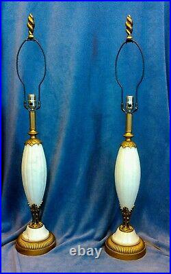 Vintage Art Deco Matching Pair of Marble Alabaster Table Lamps Hollywood Regency
