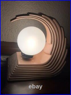Vintage Art Deco Style Peach Wave Regency Statement Table Lamp 1970s/80s