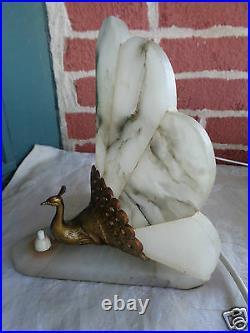 Vintage Art Deco White Marble Gold Gilt Peacock Bird Boudoir Table Lamp Set