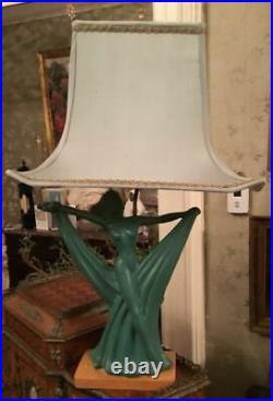 Vintage Art Noveau Deco Art Pottery Figural Lady Scarf Dancer Table Lamp