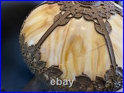 Vintage Arts & Crafts Bent Slag Glass Table Lamp by Bradley & Hubbard Cir 1920