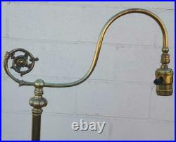 Vintage Brass Art Nouveau Style Floor Lamp WITH Shade VGC WORKS GREAT
