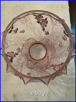 Vintage Fenton Lamp with Pink Ruffled Art Glass Shade, Hand-Painted and Signed'S