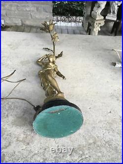 Vintage French Art Nouveau Style Fee Des Eaux Moreau Signed Lamp Lovely