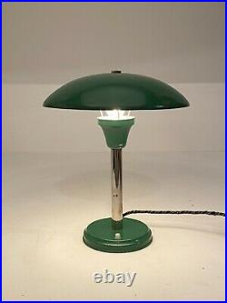 Vintage Green Bauhaus Table Lamp / 1930s Art Deco Mushroom Lamp / Desk La
