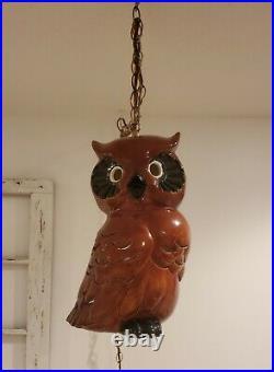 Vintage Hanging Swag Ceramic Owl Lamp Light Mid Century Hand Painted Folk Art