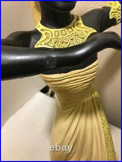 Vintage Lamp 1950s Reglor of California. Art Deco African Woman withOriginal Shade