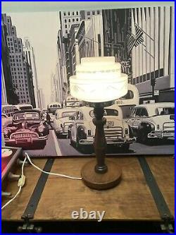 Vintage Lamp Art Deco Mid Century Oak
