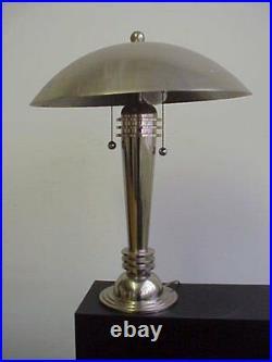 Vintage Lamp Art Deco Table Mushroom Lamp Chrome Made In USA