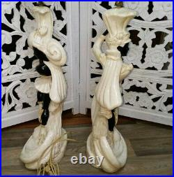 Vintage Leo Middleman Chalkware Pair 1950s Lamps Skaters Contemporary Art MCM