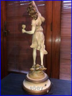 Vintage Louis Moreau Girl Figural 4 Bulb Lamp Art Nouveau Genuine France Spelter